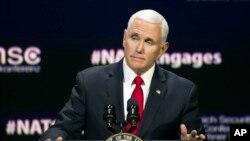 美国副总统彭斯2019年4月3日在华盛顿智库大西洋理事会的会议上发表讲话。
