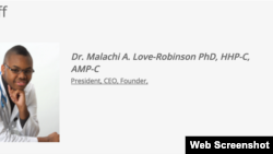 Malachi A. Love-Robinson, who is accused of pretending to be a doctor, is seen in this screengrab from his clinic's website.