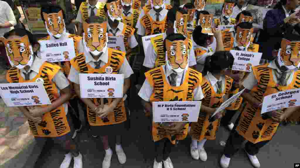 Indian school children wear tiger masks as they participate in an awareness campaign to save tigers in Calcutta.