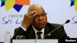 FILE- South African President Jacob Zuma during news conference at Commonwealth Heads of Government Meeting, Colombo, Nov. 17, 2013.