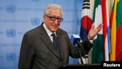 U.N.-Arab League Envoy to Syria Lakhdar Brahimi speaks to the media at the United Nations headquarters in New York, May 13, 2014.