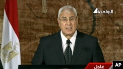 This image made from video broadcast on Egyptian state TV show's interim President Adly Mansour making his first address to the nation since taking his post after the ouster of Islamist President Mohammed Morsi, in Cairo, July 18, 2013.