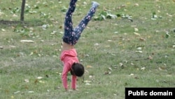 A young girl walks on her hands through the grass.
