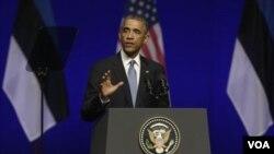 بیانیه مطبوعاتی رئیس جمهور اوباما در استونیا