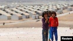 Trẻ em Syria ở trại tị nạn Azraq, gần thành phố Al Azraq, Jordan, ngày 9/9/2016.