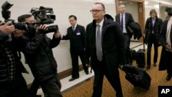 U.N. Undersecretary-General for Political Affairs Jeffrey Feltman, center, walks upon arrival at the Pyongyang International Airport in Pyongyang, North Korea, Dec. 5, 2017.