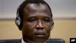 Dominic Ongwen, haut responsable de l'Armée de résistance du seigneur (LRA), lors d'une audience à la Cour pénale internationale (CPI), La Haye, Pays-Bas, 25 janvier 2015.