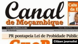Capa do jornal Canal de Moçambique
