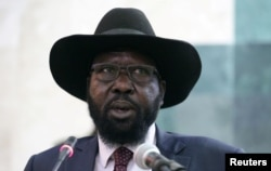 South Sudan's President Salva Kiir addresses the second session of the Transitional Government of National Unity at the Parliament in Juba, Feb. 21, 2017.