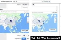 Bản đồ quảng cáo của Facebook về Biển Đông.