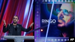 Ringo Starr speaks at the Rock and Roll Hall of Fame Induction Ceremony in Cleveland, Ohio, April 19, 2015.
