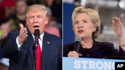미국 대통령 선거에 출마한 공화당 도널드 트럼프 후보(왼쪽)와 민주당 힐러리 클린턴 후보. (자료사진)