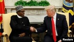ABŞ prezidenti Donald Tramp və Nigeriya prezidenti Muhammadu Buhari Ağ Evdə görüş zamanı