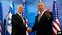 აშშ-ის თავდაცვის მდივანი ჯიმ მატისი ისრაელში, პრემიერ-მინისტრ ბენიამინ ნეთანიაჰუს შეხვდა ფოტო გადაღებულია იერუსალიმში, 21 აპრილი, 2017წ