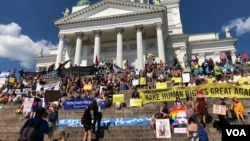 سربراہی ملاقات سے قبل ہی ہیلسنکی میں مظاہروں کا سلسلہ شروع ہوگیا ہے۔