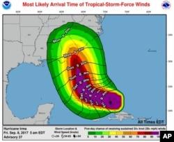 Gráfico más reciente del Centro Nacional de Huracanes sobre la trayectoria del huracán Irma en el territorio continental de EE.UU. Sept. 8, 2017.