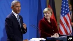 Барак Обама и Ангела Меркель. Берлин, Германия. 17 ноября 2017 г.