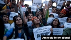 Members of Indian student organization ABVP protest the release of a juvenile convicted in the fatal 2012 gang rape that shook the country in New Delhi, India, Dec. 20, 2015.