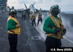 The Carl Vinson Carrier Strike Group is on a regularly scheduled Western Pacific deployment, April 8, 2017, as part of the U.S. Pacific Fleet-led initiative to extend the command and control functions of U.S. 3rd Fleet.