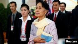 緬甸新上台的民選領導人昂山素姬於9月6日。