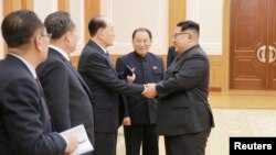 North Korean leader Kim Jong Un meets members of the high-level delegation of the Democratic People's Republic of Korea, which visited South Korea to attend the opening ceremony of the 23rd Winter Olympics in this undated photo released by North Korea's Korean Central News Agency.