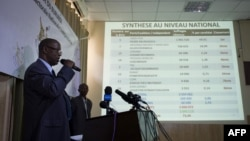 Pierre Claver Ndayicariye, president of the Independent National Electoral Commission (CENI), announces the preliminary results of the Presidential elections, in Bujumbura, Burundi, July 24, 2015.