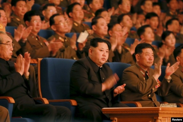FILE - North Korean leader Kim Jong Un (C) applauds during a concert marking the 70th founding anniversary of the Korean People's Army (KPA) military band in this undated photo released by North Korea's Korean Central News Agency (KCNA) in Pyongyang, Feb. 23, 2016.