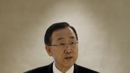 U.N. Secretary-General Ban Ki-moon delivers a speech during a session of the Human Rights Council at the United Nations European headquarters in Geneva, September 10, 2012.