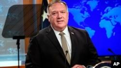 美国国务卿蓬佩奥在国务院的新闻发布会上。(2020年9月3日)