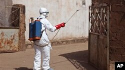 A health worker sprays disinfectant near a mosque, after the body of a man suspected of dying from the Ebola virus was washed inside before being berried in Bamako, Mali, Nov. 14, 2014.