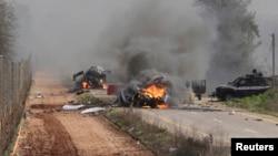 Hezbollah claimed responsibility for an attack on an Israeli military convoy near the village of Ghajar on Jan. 28, 2015. (REUTERS/Maruf Khatib)