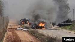 Hezbollah claimed responsibility for an attack on an Israeli military convoy near the village of Ghajar on Jan. 28, 2015. (REUTERS/Maruf Khatib)