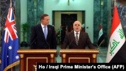 نشست مطبوعاتی مشترک تونی ابوت نخست وزیر استرالیا و حیدر العبادی نخست وزیر عراق در بغداد - ۱۴ دی ۱۳۹۳