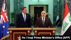 رهبران عراق و آسترالیا در جریان یک نشست خبری مشترک در بغداد