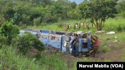 Dans la région minière de Katanga, en RDC, un train a déraillé le 12 novembre 2017. (VOA/Narval Mabila)