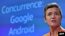 European Union Competition Commissioner Margrethe Vestager announces a record $5 billion fines against Google at the EU headquarters in Brussels on July 18, 2018. (AFP PHOTO / JOHN THYS)