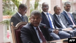 Angolan President Joao Lourenco gives his first press conference after his election on Jan. 8, 2018 to mark his first 100 days in office at the Presidential Palace in Luanda. (AFP PHOTO / AMPE ROGERIO)