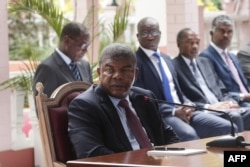 FILE - Angolan President Joao Lourenco gives his first press conference after his election on Jan. 8, 2018 to mark his first 100 days in office at the Presidential Palace in Luanda.