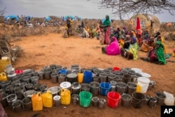FILE - People wait for food and water in the Warder district in the Somali region of Ethiopia, Jan. 28, 2017. The consumption of contaminated water from shallow wells and ponds meant for cattle, poor nutrition and unsafe hygiene practices have led to outbreaks of cholera and acute watery diarrhea in the impoverished African country.