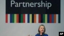 Secretary of State Hillary Rodham Clinton in Brasilia, Brazil, Tuesday April 17, 2012. (AP Photo/Eraldo Peres)