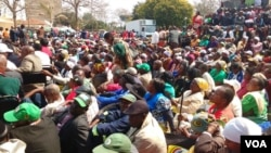 Some of the people at a 'rally' convened by President Robert Mugabe's Zanu PF party on Wednesday.