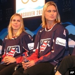 Jenny Potter, left, and Angela Ruggiero during US Women's Hockey press event