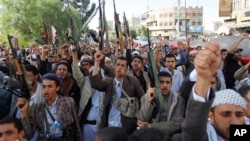 Shi'ite Houthi rebels demonstrate against an arms embargo imposed by the U.N. Security Council on Houthi leaders, in Sana'a, Yemen, April 16, 2015.