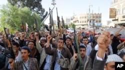 Phiến quân Houthi tại Sanaa, Yemen, ngày 16/4/2015.
