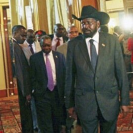 South Sudan's leader Salva Kiir arrives for the African Panel high-level talks between Sudan's north and south over the oil-rich Abyei region in Addis Ababa, June 12, 2011