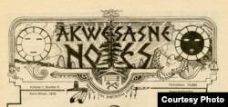 Masthead, Akwesasne Notes, Winter 1975. Courtesy, Amherst College Archives and Special Collections.