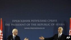 Predsjednici Ivo Josipović i Boris Tadić u Beogradu 18. srpnja 2010. godine