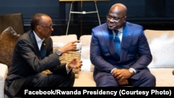 Président Félix Tshisekedi ya RDC (D) na bokutani na mokokani wa ye ya Rwanda Paul Kagame, na New York, 23 septembre 2019. (Facebook/Présidence Rwanda)