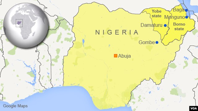 Map of Nigeria showing Monguno, Baga, Damaturu and Gombe