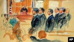 Sketsa gambar pengadilan terhadap Paul Manafort, yang dipimpin oleh Hakim T.S. Ellis III, di pengadilan federal Alexandria, Virginia, 31 Juli 2018 lalu (foto: ilustrasi).